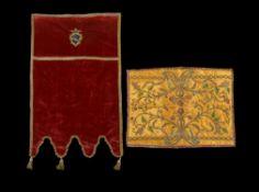 An Italian silk and silver thread work textile fragment