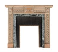 A stripped wood, probably Lime, chimney piece in George III style