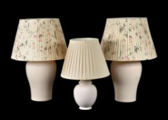 A pair of crackle glazed ceramic table lamps
