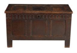 An oak three panel coffer