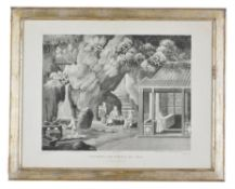 A pair of English monochrome engravings of Chinese tea gathering and firing scenes