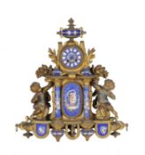 A French gilt metal and blue ceramic mounted mantel clock