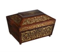 Y A Regency rosewood and brass marquetry inlaid work box