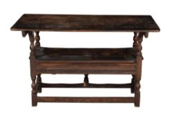 An oak Monk's bench or hutch table