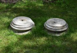 Two white marble bases or socles