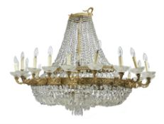 A Continental gilt metal and cut glass chandelier