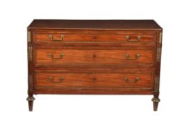 A French Directoire mahogany and brass inlaid commode