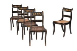 A set of five late George III Jappaned and parcel gilt side chairs