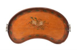 A Sheraton Revival satinwood and polychrome painted two handled tray