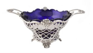 A Victorian silver twin handled shaped circular basket by Dobson & Sons