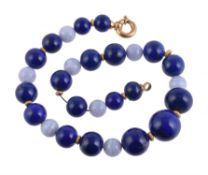 A lapis lazuli and lace agate bead necklace