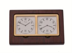 Asprey, a lacquered wood and brass dual time desk clock
