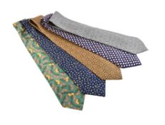 Hermès, five silk ties