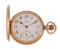 Waltham, 18 carat gold keyless wind full hunter pocket watch