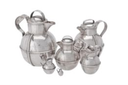 Six silver Guernsey cream jugs