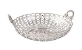 An Edwardian silver twin handled circular basket