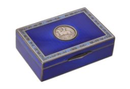 Y A silver, blue enamelled and ivory mounted box