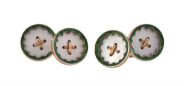 Y A pair of early 20th century mother of pearl cufflinks