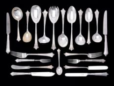 A silver Albany pattern part table service for twelve place settings