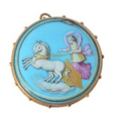 A mid Victorian painted porcelain brooch by Josiah Rushton