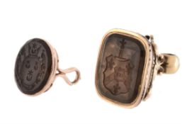 A late 18th century/ early 19th century gold and smokey quartz fob seal
