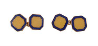 A pair of 9 carat gold enamelled Asprey cufflinks