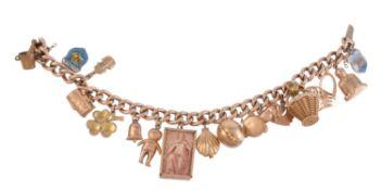 A gold coloured charm bracelet
