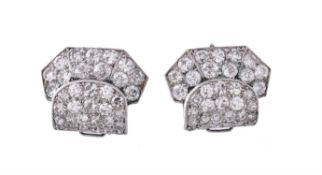 A pair of Art Deco diamond clips