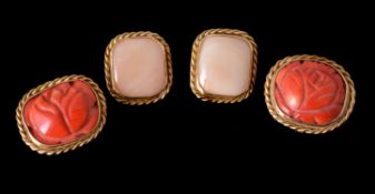 Y Two pairs of coral ear clips