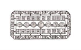 A mid 20th century diamond plaque brooch