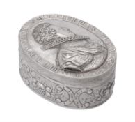 A 19th century continental silver oval box
