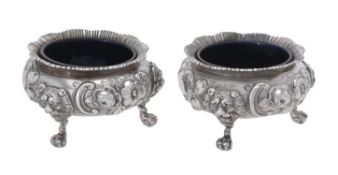 A pair of Victorian silver cauldron salts by Daniel & Charles Houle