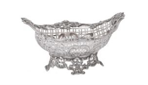 A Victorian silver shaped oval pierced basket by William Comyns