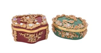 Halcyon Days, Gilbert collection, a green enamel, gilt and paste mounted oval box