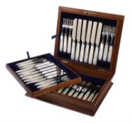 Y A Victorian set of twelve silver and mother of pearl dessert knives and forks by Thomas Bradbury &