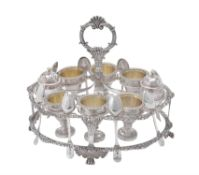 A George IV silver oval egg cup stand by William Eaton