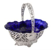 A German silver shaped oval basket