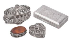 Y Four continental silver coloured boxes