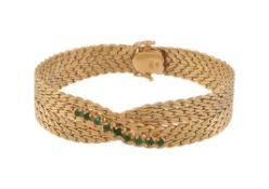 A 1970s Italian woven link emerald bracelet