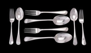 Two Edwardian silver Old English and thread pattern table spoons, dessert spoons and dessert forks