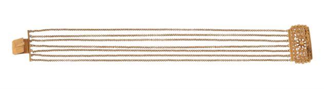 A 19th century gold multi strand bracelet