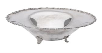 An Italian silver coloured shaped circular bowl