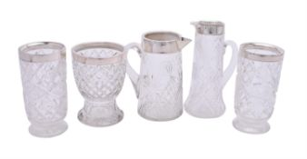 Five silver collared cut glass items