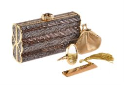 Judith Leiber, a gilt metal and dark caramel crystal clutch bag