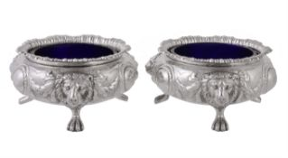 A pair of Victorian silver large cauldron salt cellars by Edward Barnard & Sons