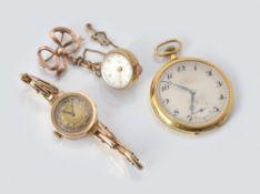 Unsigned, 9 carat gold keyless wind open face pocket watch