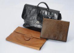 Fendi, a black leather handbag