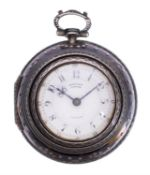 Y A silver and tortoiseshell triple-cased verge pocket watch Edward Prior