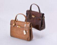Y De Nicola, Roma, a dark brown alligator handbag