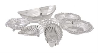 Seven various silver dishes or baskets